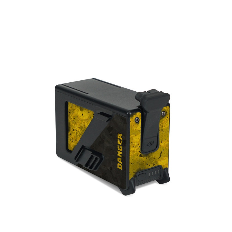 DJI FPV Intelligent Flight Battery Skin design of Colorfulness, Road surface, Yellow, Rectangle, Asphalt, Font, Material property, Parallel, Tar, Tints and shades with black, gray, yellow colors