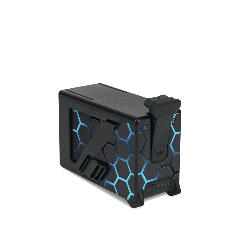 DJI FPV Intelligent Flight Battery Skin design of Pattern, Water, Design, Circle, Metal, Mesh, Sphere, Symmetry with black, gray, blue colors