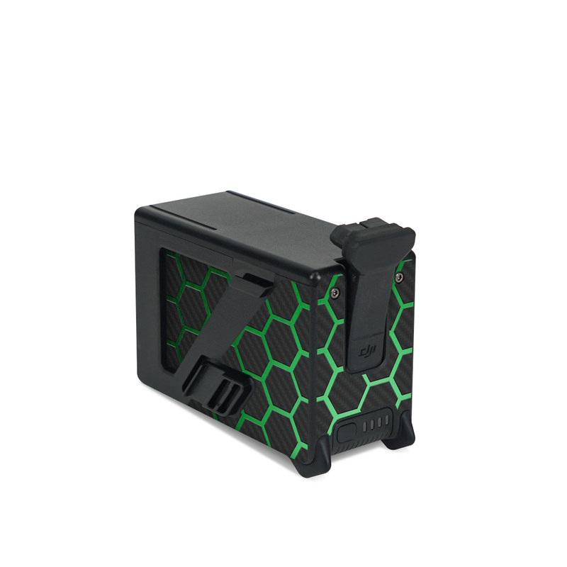 DJI FPV Intelligent Flight Battery Skin design of Pattern, Metal, Design, Carbon, Space, Circle with black, gray, green colors