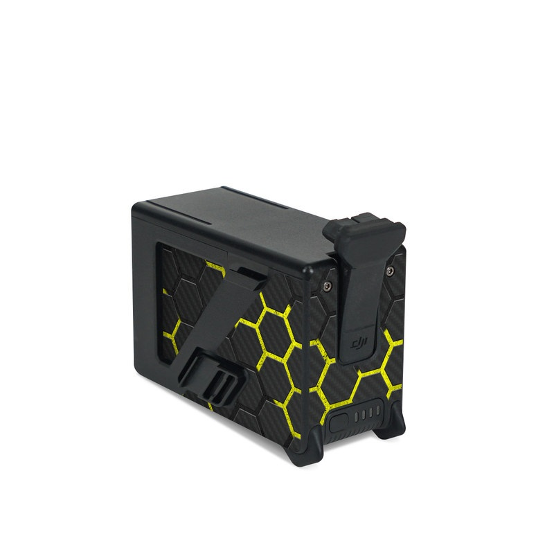 DJI FPV Intelligent Flight Battery Skin design of Black, Pattern, Yellow, Mesh, Net, Chain-link fencing, Design, Metal with black, gray, yellow colors