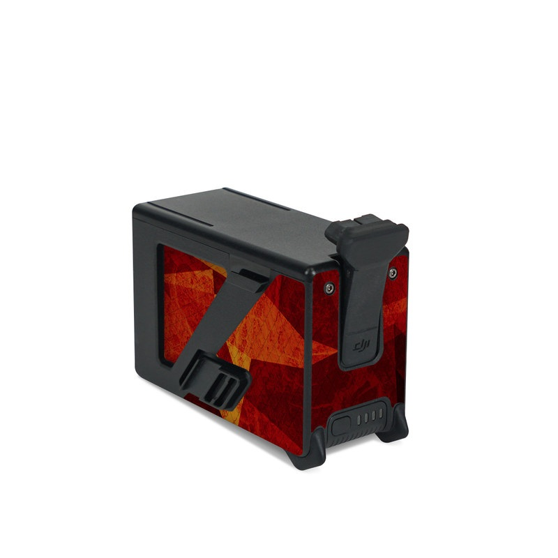 DJI FPV Intelligent Flight Battery Skin design of Orange, Red, Yellow, Triangle, Pattern, Amber, Design, Art, Visual arts, Modern art with black, orange, yellow colors
