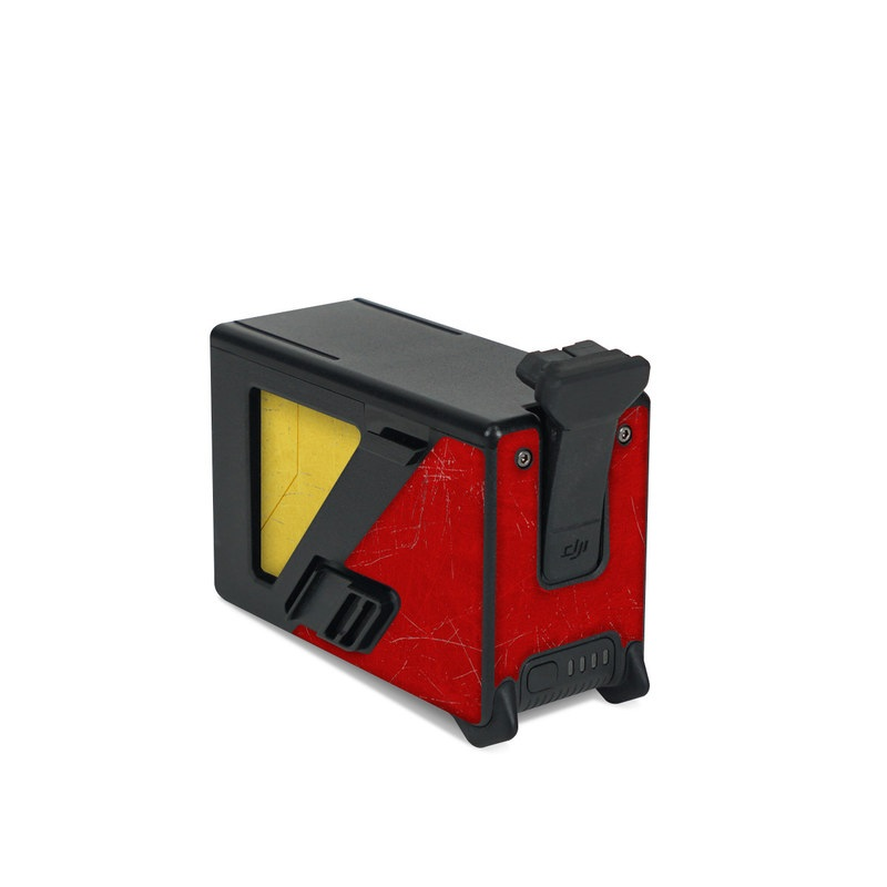 DJI FPV Intelligent Flight Battery Skin design with red, yellow, white colors