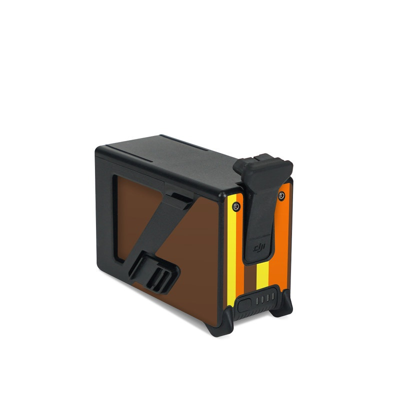 DJI FPV Intelligent Flight Battery Skin design of Orange, Yellow, Line, Brown, Font, Material property, Graphic design, Pattern, Parallel with brown, orange, yellow colors