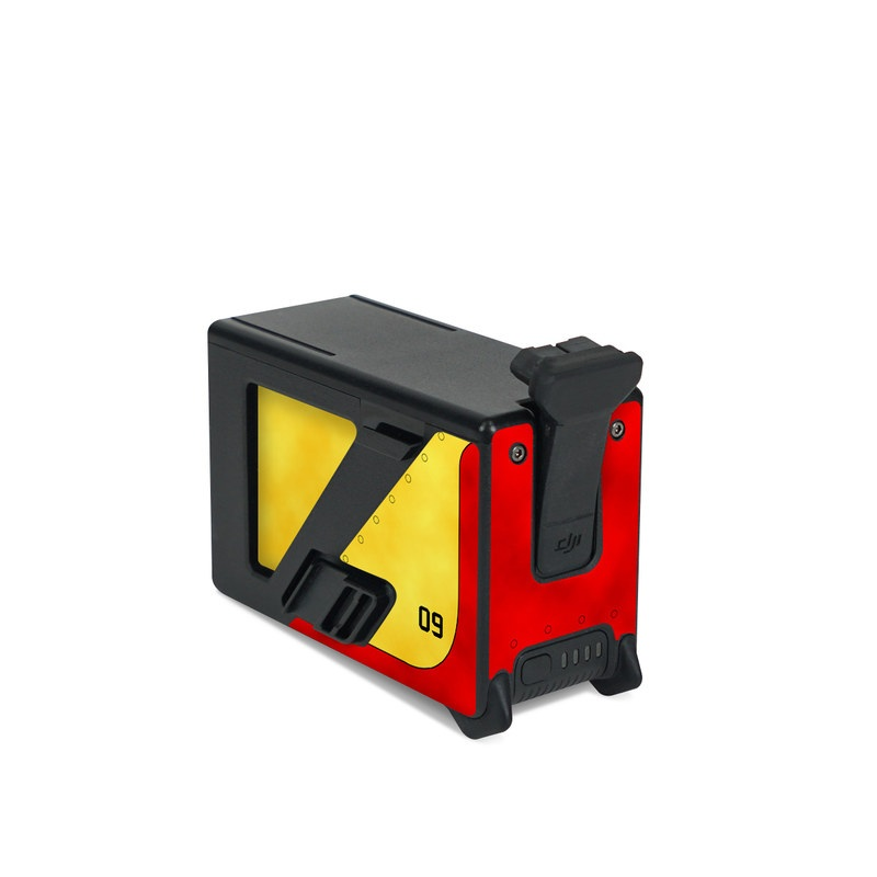 DJI FPV Intelligent Flight Battery Skin design with red, yellow, black colors