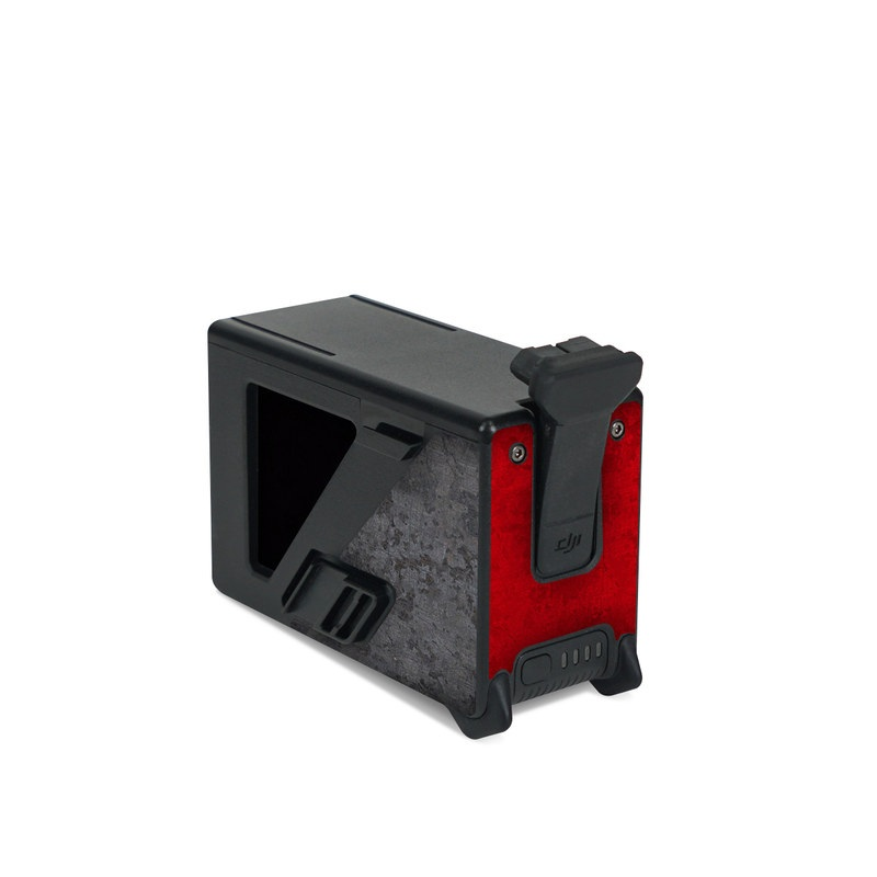 DJI FPV Intelligent Flight Battery Skin design of Bullet, Holes, War, Red, Text, Carmine, Colorfulness, Maroon, Symbol, Coquelicot with red, black, white, gray colors