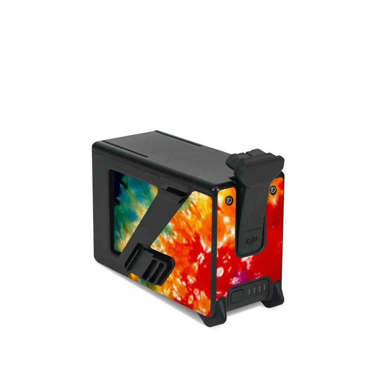 DJI FPV Intelligent Flight Battery Skin design of Orange, Watercolor paint, Sky, Dye, Acrylic paint, Colorfulness, Geological phenomenon, Art, Painting, Organism with red, orange, blue, green, yellow, purple colors