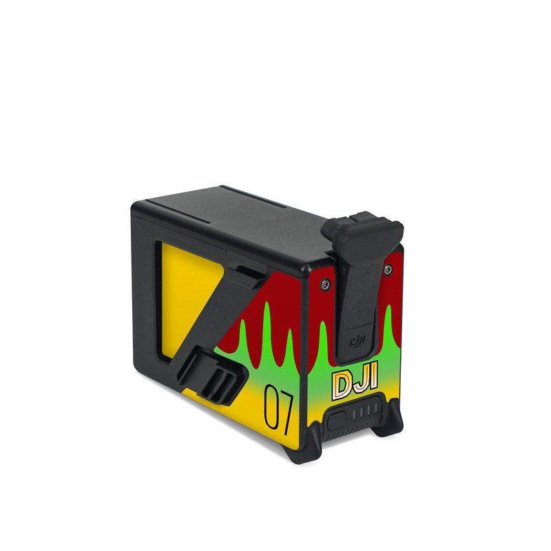 DJI FPV Intelligent Flight Battery Skin design with yellow, green, brown colors