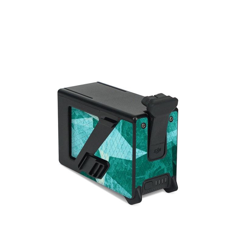 DJI FPV Intelligent Flight Battery Skin design of Aqua, Blue, Pattern, Turquoise, Illustration, Teal, Design, Line, Graphic design with blue colors