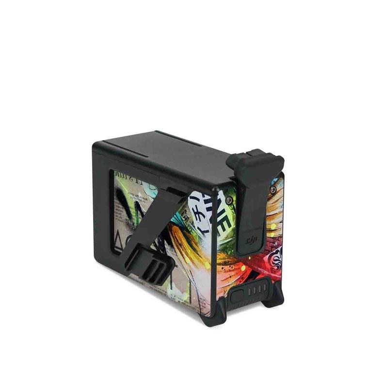 DJI FPV Intelligent Flight Battery Skin design of Street art, Text, Graphic design, Font, Illustration, Art, Graffiti, Skull, Poster, Advertising with gray, black, red, green, blue colors