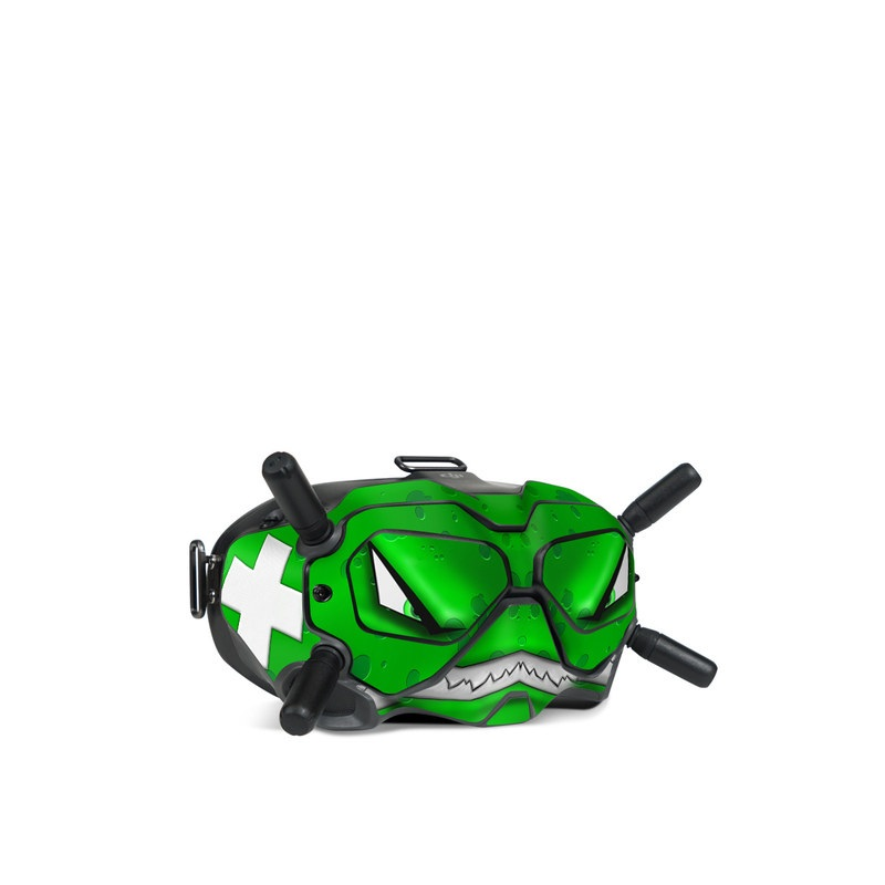 DJI FPV Goggles V2 Skin design of Green, Font, Animation, Logo, Graphics, Games with green, white colors