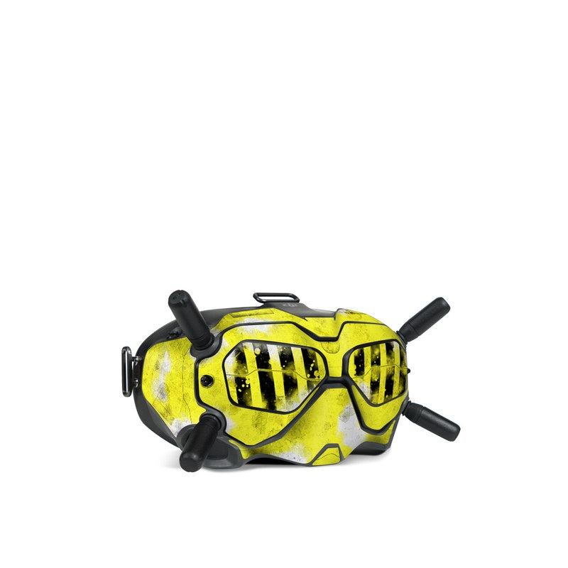 DJI FPV Goggles V2 Skin design of Yellow, Green, Font, Pattern, Graphic design with black, yellow, gray, blue, green colors