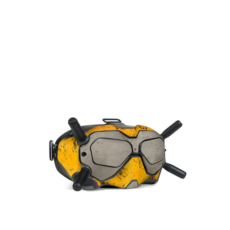 DJI FPV Goggles V2 Skin design of Yellow, Wall, Line, Orange, Design, Concrete, Font, Architecture, Parallel, Wood with gray, yellow, red, black colors