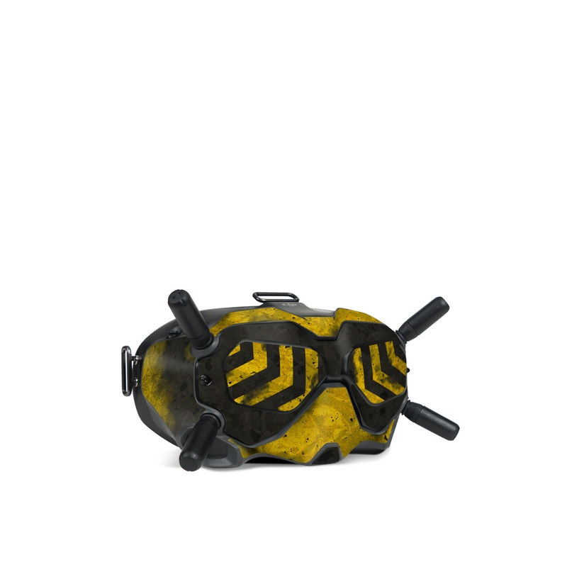 DJI FPV Goggles V2 Skin design of Colorfulness, Road surface, Yellow, Rectangle, Asphalt, Font, Material property, Parallel, Tar, Tints and shades with black, gray, yellow colors