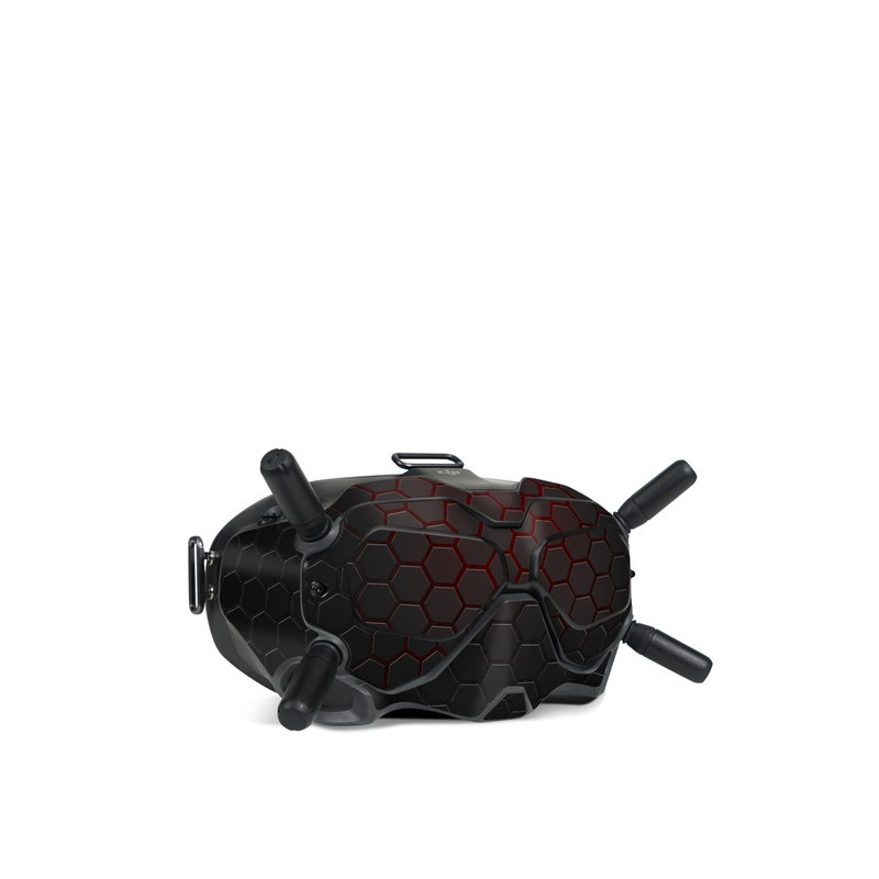 DJI FPV Goggles V2 Skin design of Black, Pattern, Metal, Design, Mesh, Carbon, Space, Wallpaper with black, red colors