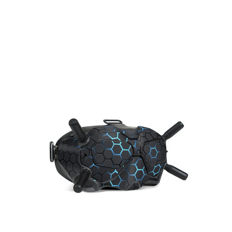 DJI FPV Goggles V2 Skin design of Pattern, Water, Design, Circle, Metal, Mesh, Sphere, Symmetry with black, gray, blue colors