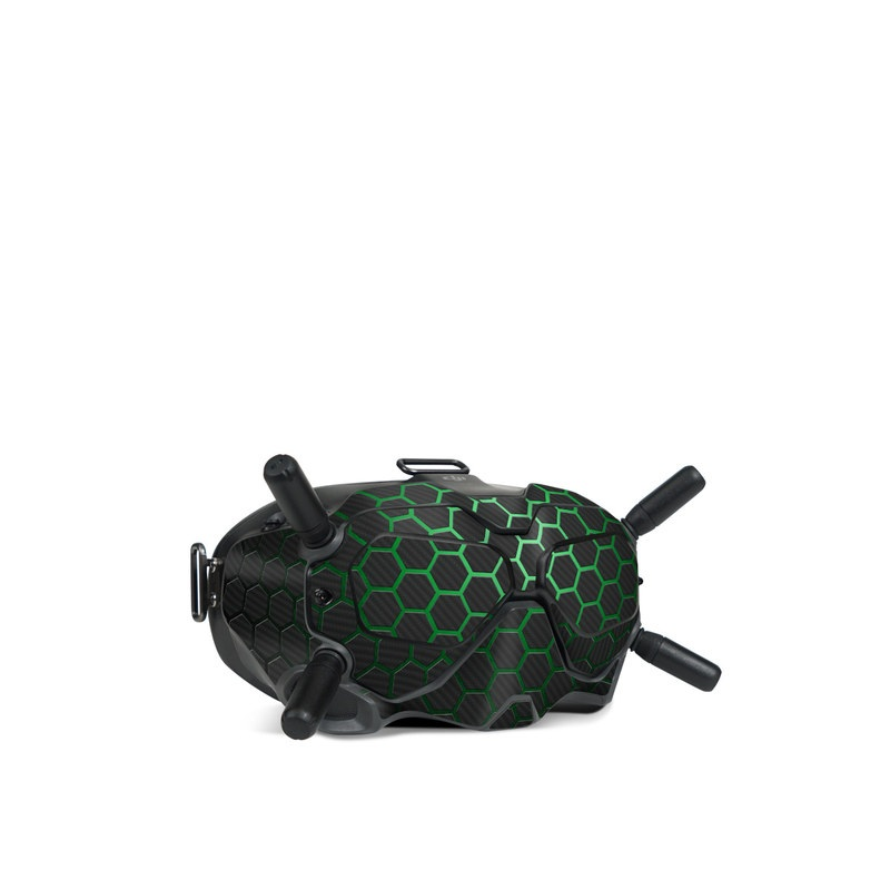DJI FPV Goggles V2 Skin design of Pattern, Metal, Design, Carbon, Space, Circle with black, gray, green colors
