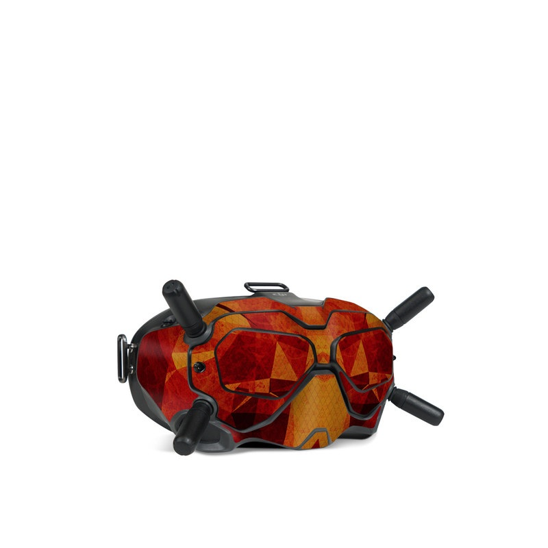 DJI FPV Goggles V2 Skin design of Orange, Red, Yellow, Triangle, Pattern, Amber, Design, Art, Visual arts, Modern art with black, orange, yellow colors