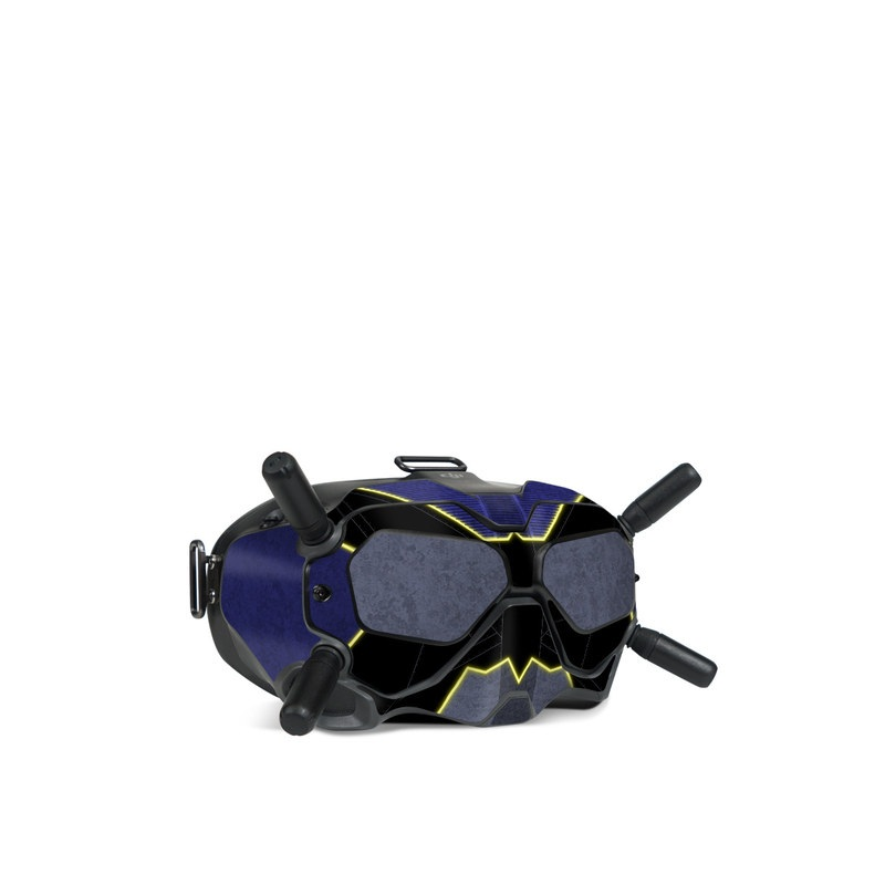 DJI FPV Goggles V2 Skin design with black, blue, yellow, gray colors