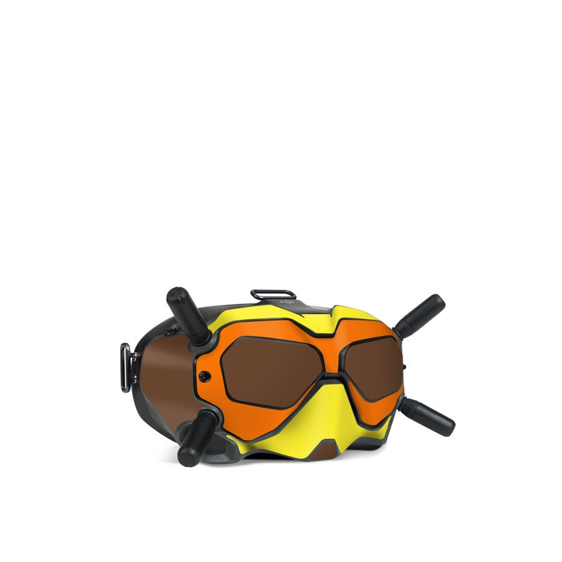 DJI FPV Goggles V2 Skin design of Orange, Yellow, Line, Brown, Font, Material property, Graphic design, Pattern, Parallel with brown, orange, yellow colors