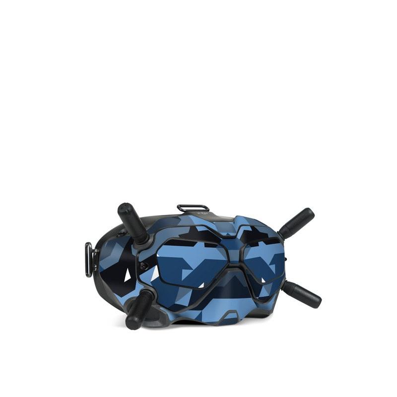 DJI FPV Goggles V2 Skin design of Blue, Pattern, Design, Font, Line, Camouflage, Illustration, Triangle with blue, black, white, gray colors