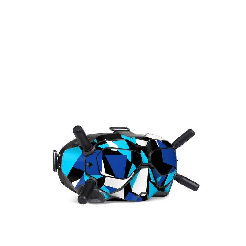 DJI FPV Goggles V2 Skin design of Blue, Pattern, Turquoise, Cobalt blue, Teal, Design, Electric blue, Graphic design, Triangle, Font with blue, white, black colors