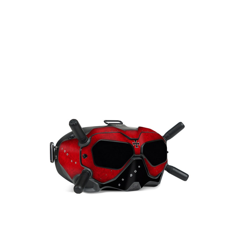 DJI FPV Goggles V2 Skin design of Bullet, Holes, War, Red, Text, Carmine, Colorfulness, Maroon, Symbol, Coquelicot with red, black, white, gray colors
