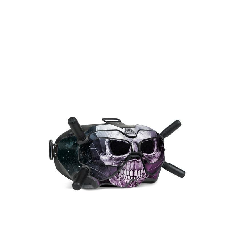 DJI FPV Goggles V2 Skin design of Skull, Bone, Illustration, Font, Jaw, Fictional character, Graphic design, Graphics, Art with black, white, gray, purple colors