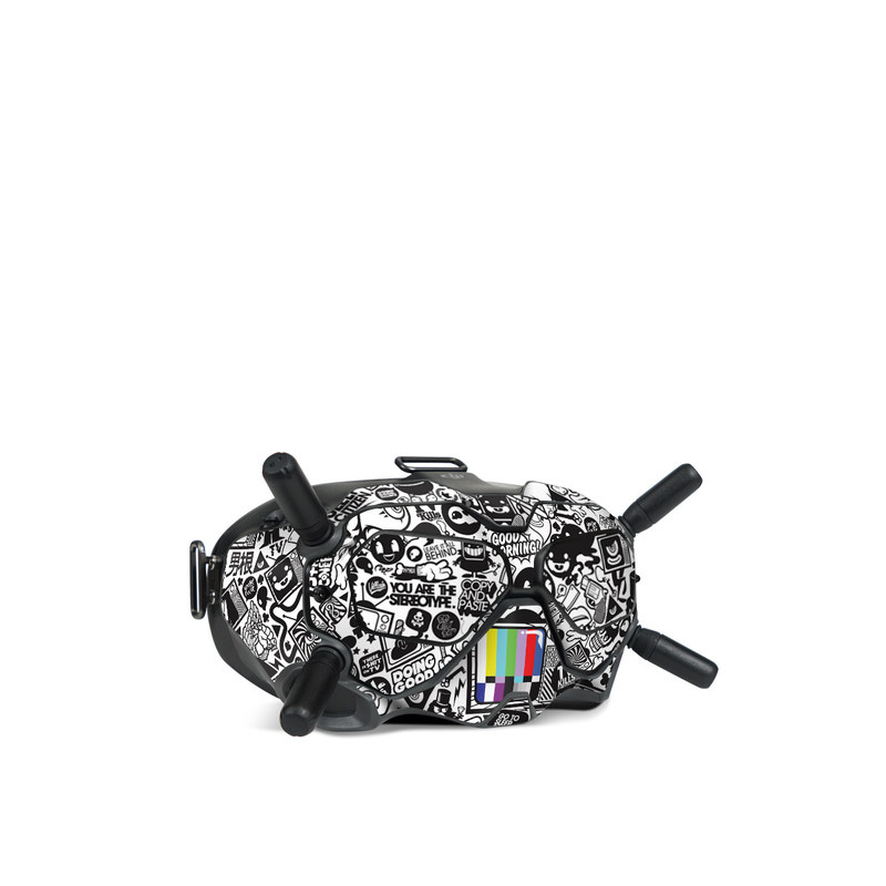DJI FPV Goggles V2 Skin design of Pattern, Drawing, Doodle, Design, Visual arts, Font, Black-and-white, Monochrome, Illustration, Art with gray, black, white colors