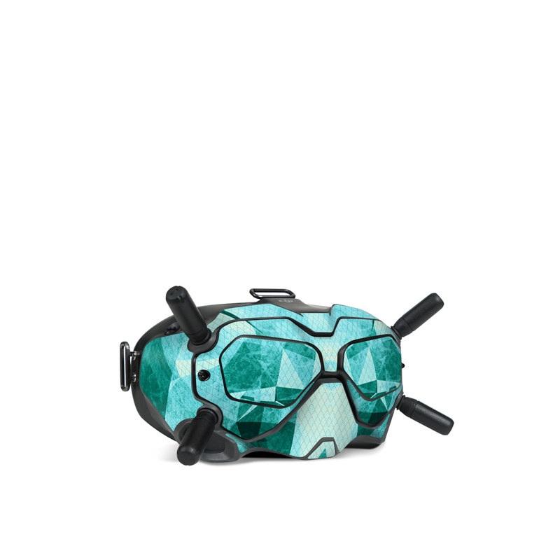 DJI FPV Goggles V2 Skin design of Aqua, Blue, Pattern, Turquoise, Illustration, Teal, Design, Line, Graphic design with blue colors