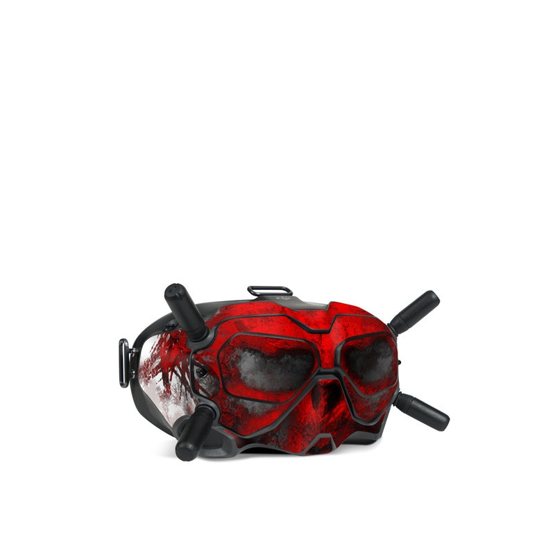 DJI FPV Goggles V2 Skin design of Red, Graphic design, Skull, Illustration, Bone, Graphics, Art, Fictional character with red, gray, black, white colors
