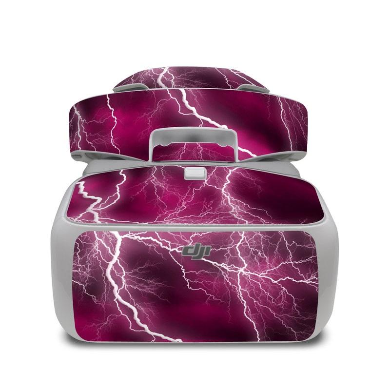 DJI Goggles Skin design of Thunder, Lightning, Thunderstorm, Sky, Nature, Purple, Red, Atmosphere, Violet, Pink with pink, black, white colors