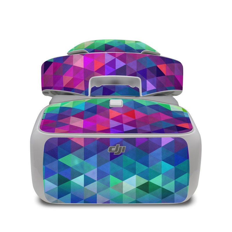 DJI Goggles Skin design of Purple, Violet, Pattern, Blue, Magenta, Triangle, Line, Design, Graphic design, Symmetry with blue, purple, green, red, pink colors
