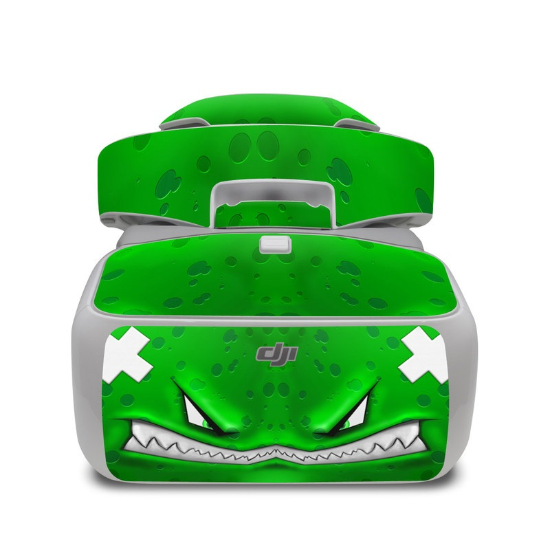 DJI Goggles Skin design of Green, Font, Animation, Logo, Graphics, Games with green, white colors