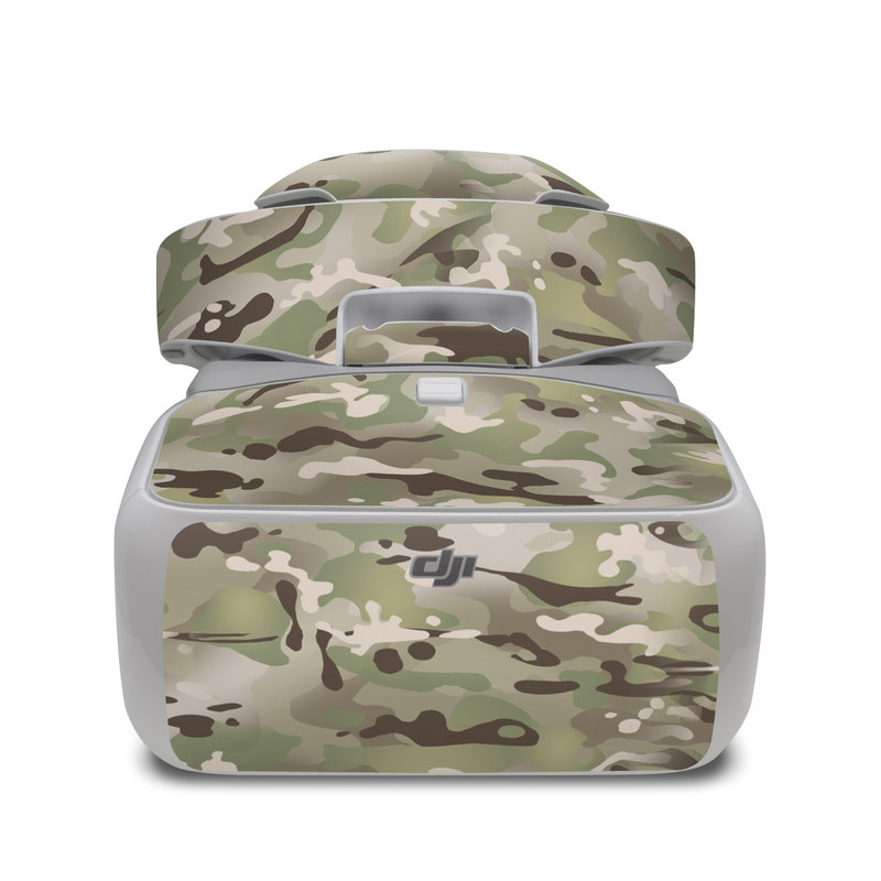 DJI Goggles Skin design of Military camouflage, Camouflage, Pattern, Clothing, Uniform, Design, Military uniform, Bed sheet with gray, green, black, red colors