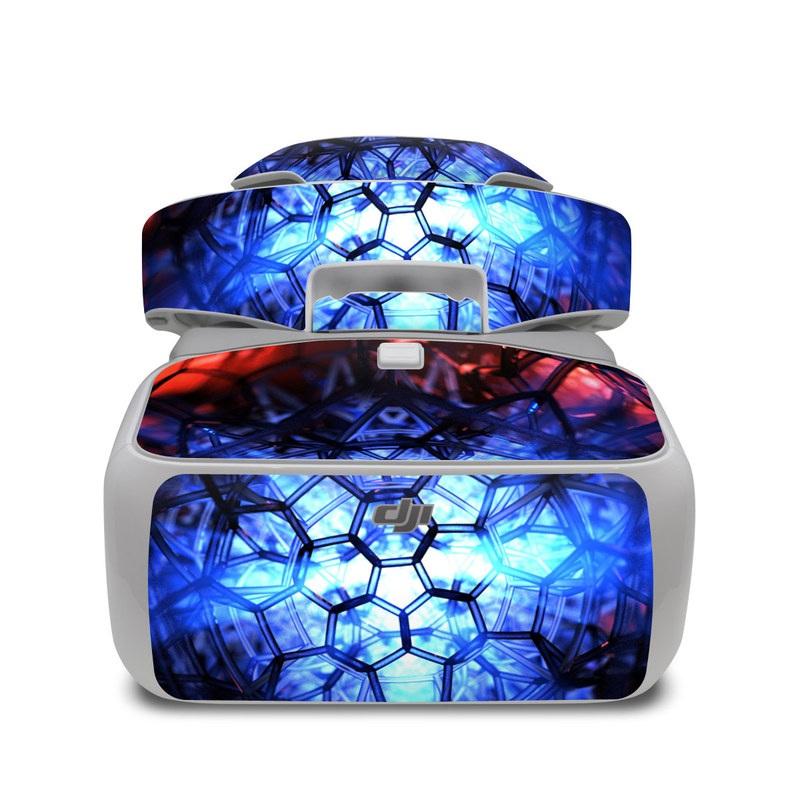 DJI Goggles Skin design of Blue, Fractal art, Red, Light, Pattern, Lighting, Art, Kaleidoscope, Design, Psychedelic art with black, blue, red colors