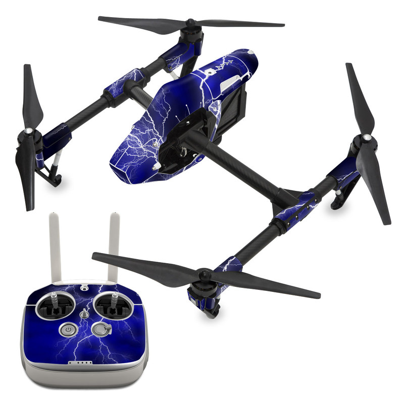 DJI Inspire 1 Skin design of Thunder, Lightning, Thunderstorm, Sky, Nature, Electric blue, Atmosphere, Daytime, Blue, Atmospheric phenomenon with blue, black, white colors