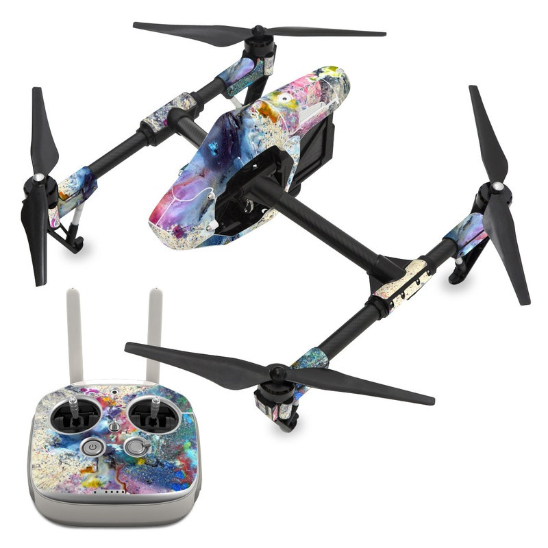 DJI Inspire 1 Skin design of Watercolor paint, Painting, Acrylic paint, Art, Modern art, Paint, Visual arts, Space, Colorfulness, Illustration with gray, black, blue, red, pink colors