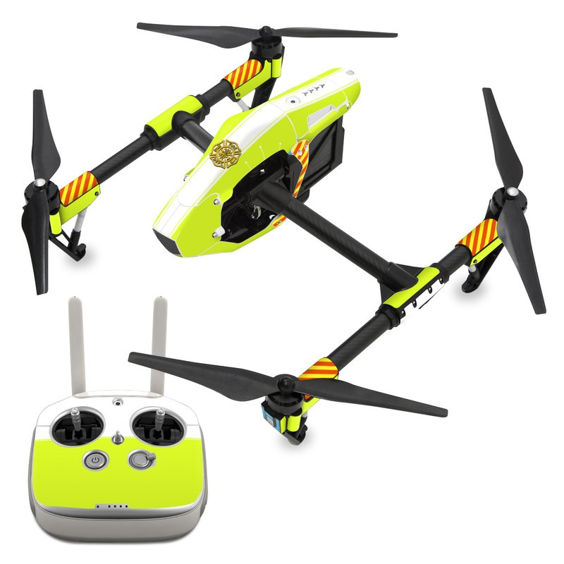 DJI Inspire 1 Skin design of Yellow, Line, Font, Military rank with white, green, red, yellow colors