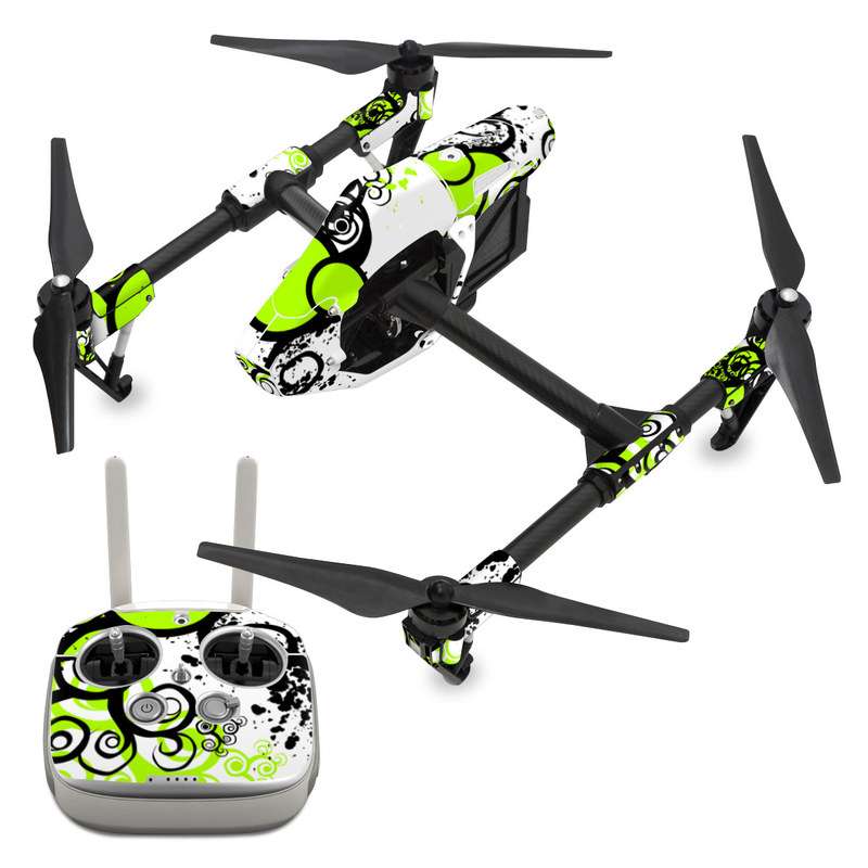 DJI Inspire 1 Skin design of Green, Circle, Graphic design, Leaf, Visual arts, Font, Design, Line, Pattern, Clip art with white, black, green, gray colors