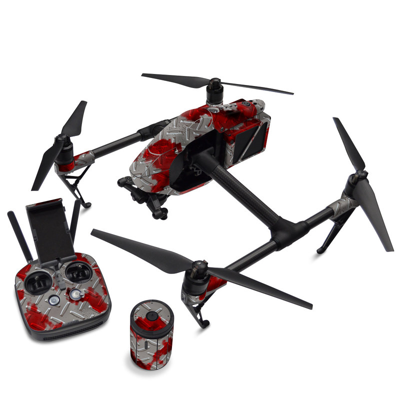 DJI Inspire 2 Skin design of Red, Pattern, Carmine, Design, Plant, Jigsaw puzzle with gray, red colors