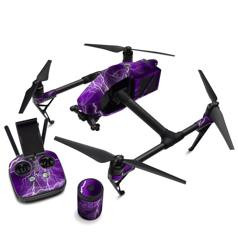 DJI Inspire 2 Skin design of Thunder, Lightning, Thunderstorm, Sky, Nature, Purple, Violet, Atmosphere, Storm, Electric blue with purple, black, white colors