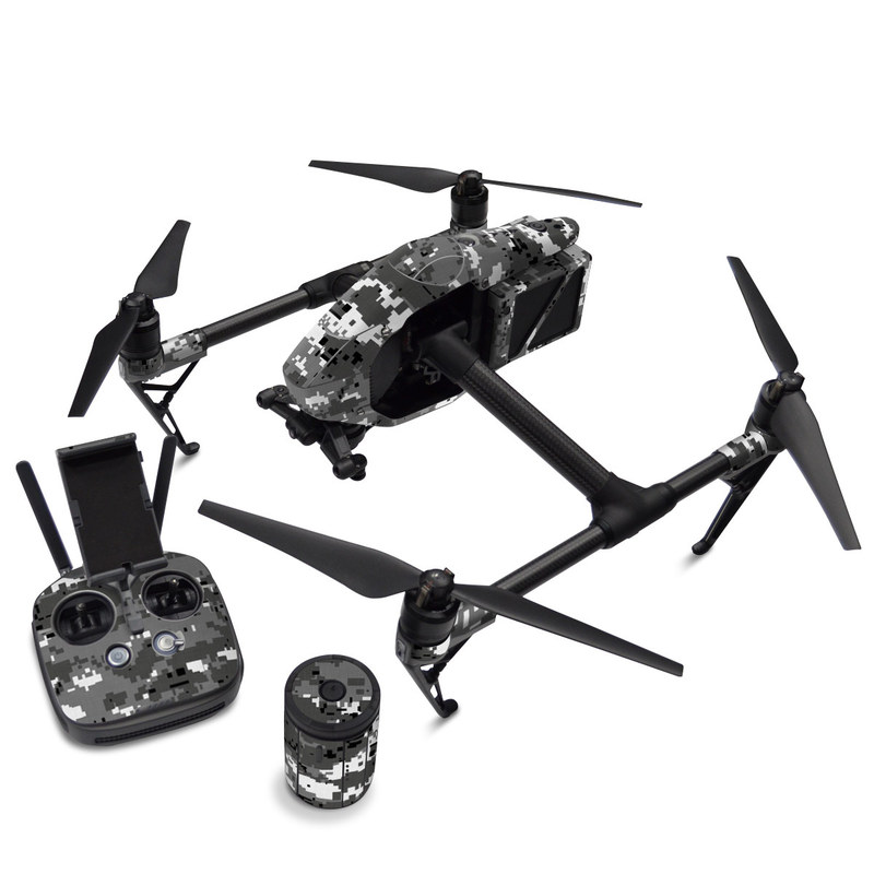DJI Inspire 2 Skin design of Military camouflage, Pattern, Camouflage, Design, Uniform, Metal, Black-and-white with black, gray colors