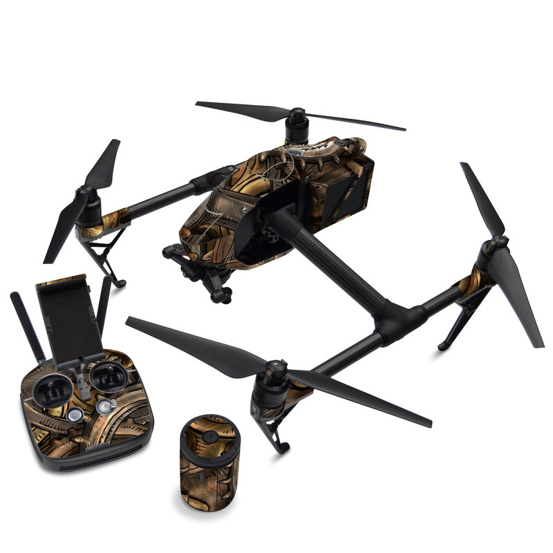 DJI Inspire 2 Skin design of Metal, Auto part, Bronze, Brass, Copper with black, red, green, gray colors