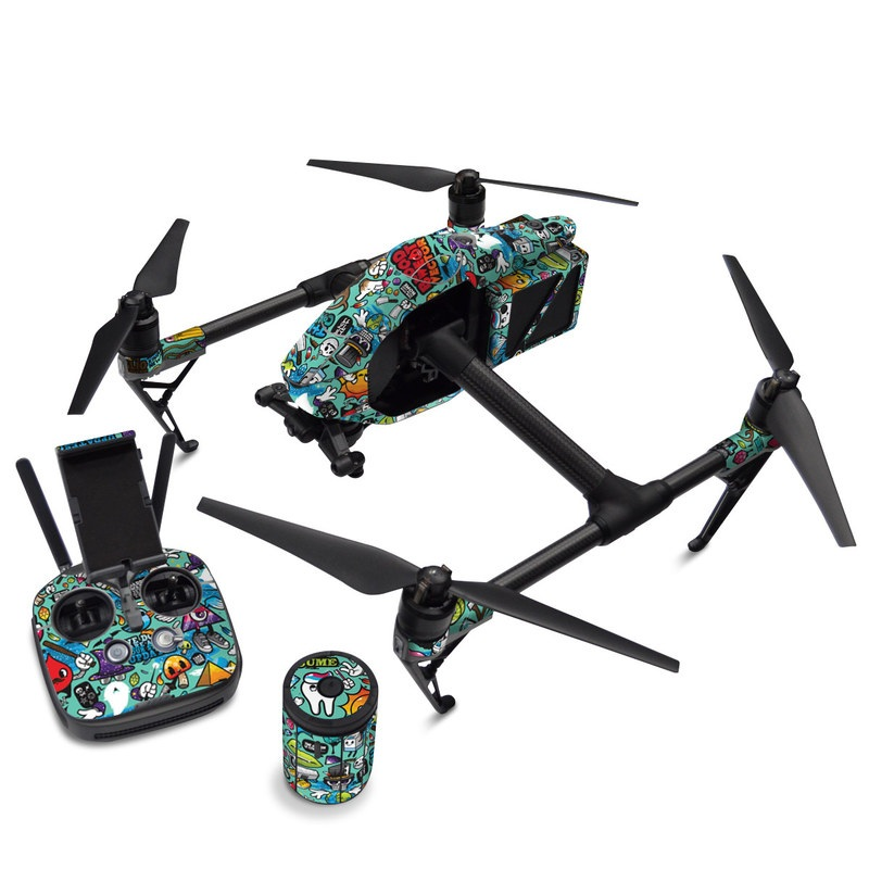 DJI Inspire 2 Skin design of Cartoon, Art, Pattern, Design, Illustration, Visual arts, Doodle, Psychedelic art with black, blue, gray, red, green colors