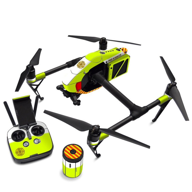 DJI Inspire 2 Skin design with white, green, yellow, orange, red colors