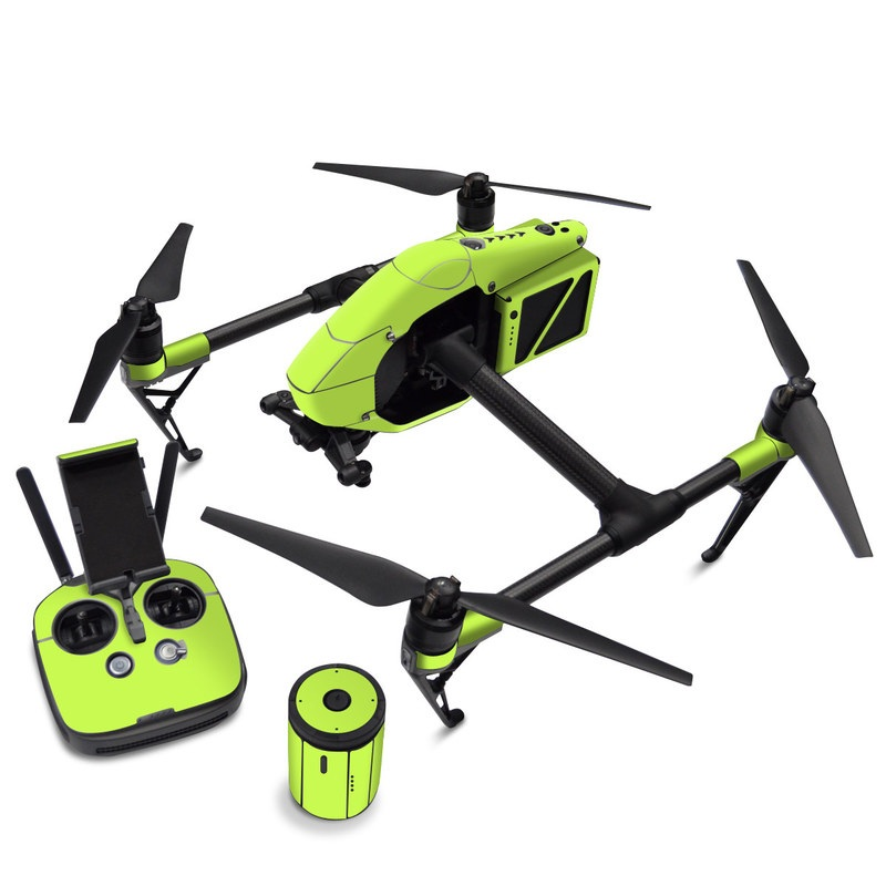 DJI Inspire 2 Skin design of Green, Yellow, Text, Leaf, Font, Grass with green colors