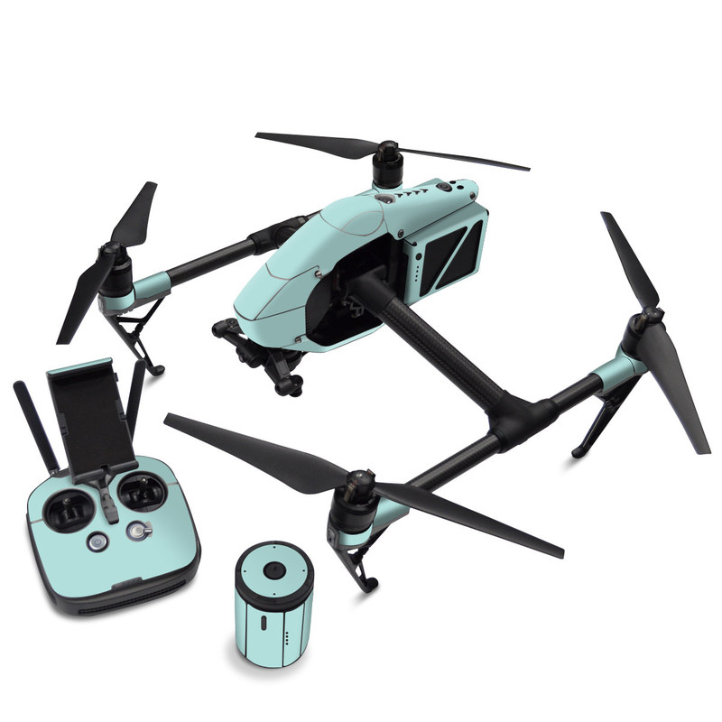 DJI Inspire 2 Skin design of Green, Blue, Aqua, Turquoise, Teal, Azure, Text, Daytime, Yellow, Sky with blue colors