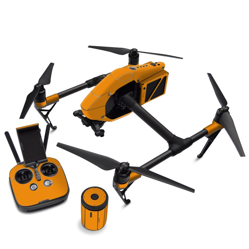 DJI Inspire 2 Skin design of Orange, Yellow, Brown, Text, Amber, Font, Peach with orange colors