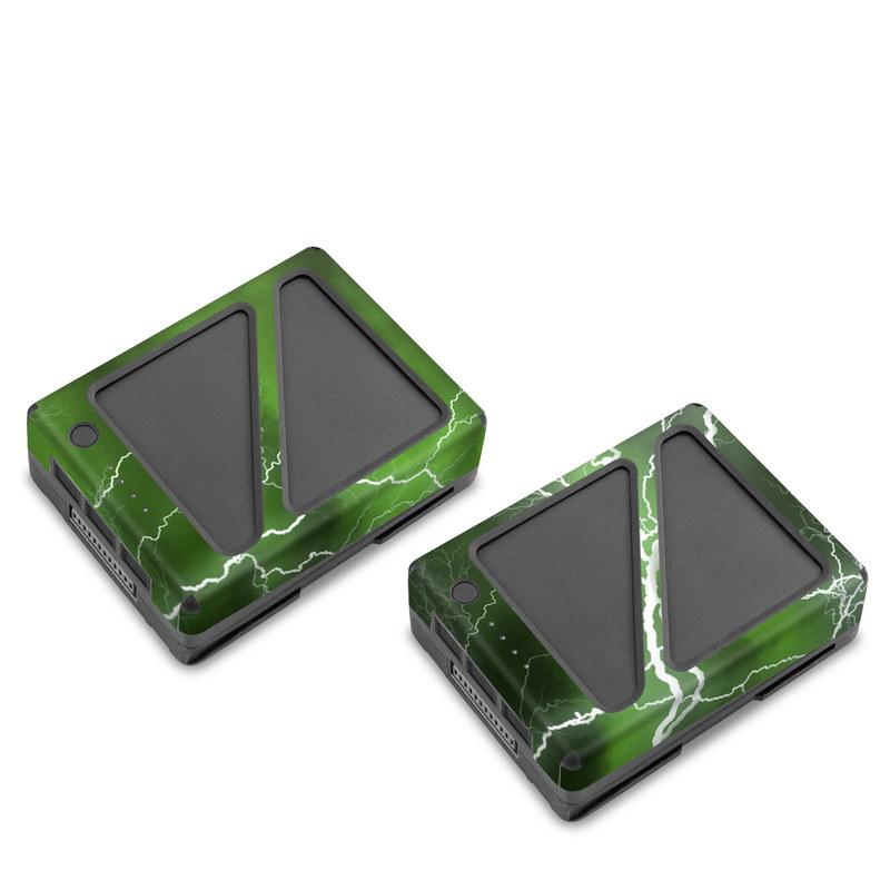 DJI Inspire 2 Battery Skin design of Thunderstorm, Thunder, Lightning, Nature, Green, Water, Sky, Atmosphere, Atmospheric phenomenon, Daytime with green, black, white colors