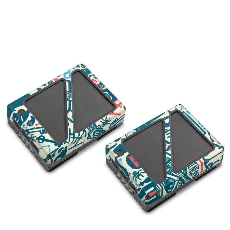 DJI Inspire 2 Battery Skin design of Pattern, Psychedelic art, Turquoise, Art, Design, Visual arts, Line, Drawing, Doodle, Graphic design with white, green, blue, red colors